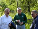 Senator Dick Durbin and Secretary of the Interior Ken Salazar share stories with Hackmatack visionary Ed Collins.  photo: Cindy Skrukrud